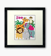 Cute Whimsy Zoo Animal Friends  Framed Print