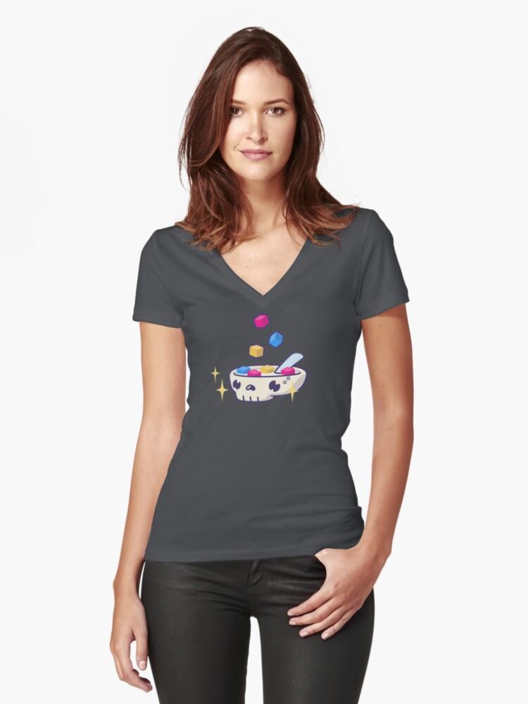 Pixels for Breakfast Logomark Women's Fitted V-Neck T-Shirt Front