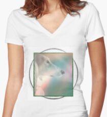 Saluki-Imprint Women's Fitted V-Neck T-Shirt