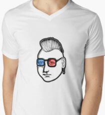 Captain Punk 3D Mens V-Neck T-Shirt