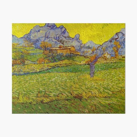 A Meadow in the Mountains , Le Mas de Saint-Paul (Remastered) , 1889 by Vincent Van Gogh Art Board Print