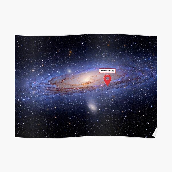 You are here: Milky Way map - space map, galaxy map Poster