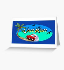 OUT RUN - SEGA ARCADE 80s LOGO Greeting Card