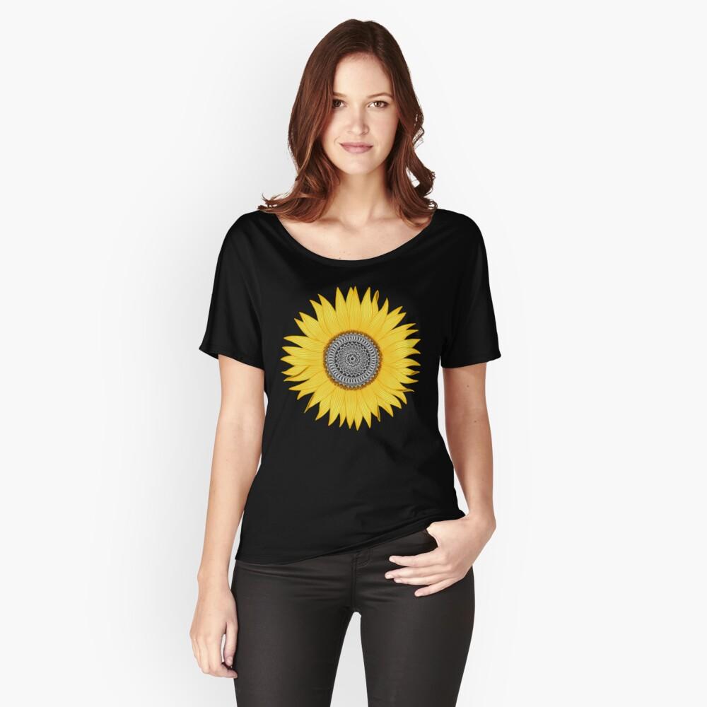 Mandala-Sonnenblume Loose Fit T-Shirt
