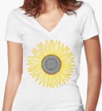 Golden Mandala Sunflower Women's Fitted V-Neck T-Shirt