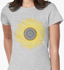 Golden Mandala Sunflower Womens Fitted T-Shirt