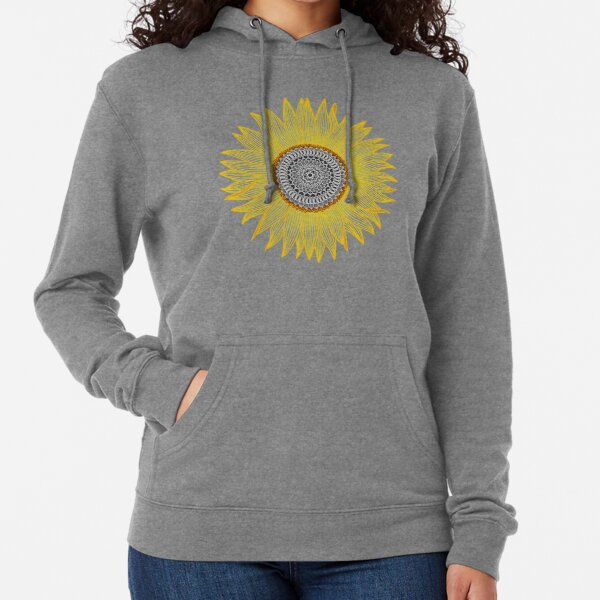 Golden Mandala Sunflower Lightweight Hoodie