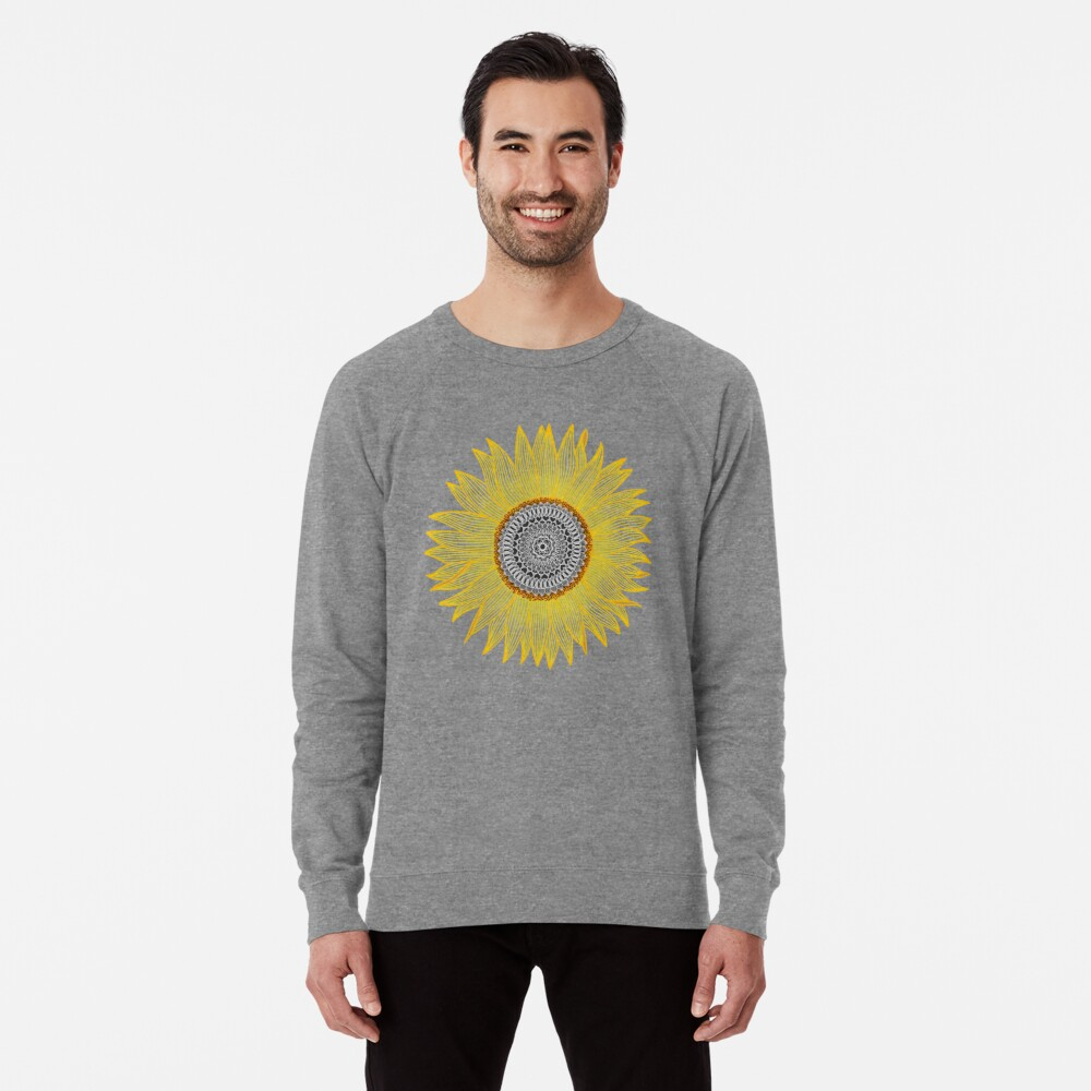 Golden Mandala Sunflower Lightweight Sweatshirt