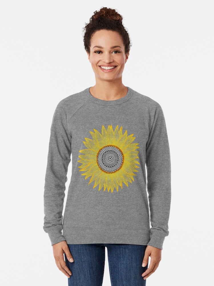 Alternate view of Golden Mandala Sunflower Lightweight Sweatshirt