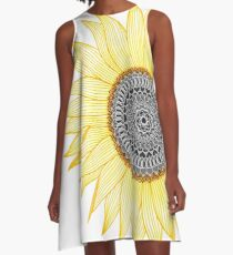 Golden Mandala Sunflower A-Line Dress