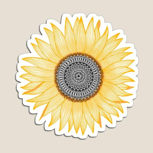 Golden Mandala Sunflower Magnet