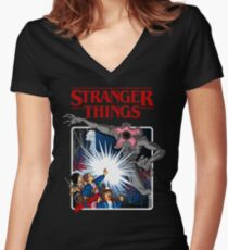 Stranger Things Animated Series Women's Fitted V-Neck T-Shirt