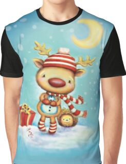 Reindeer and Hedgehog - Best Friends at Christmas Graphic T-Shirt