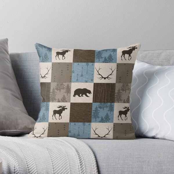 Woodland Patchwork- Blue, Brown And beige Throw Pillow