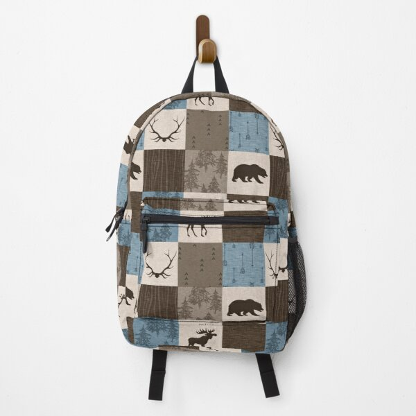 Woodland Patchwork- Blue, Brown And beige Backpack