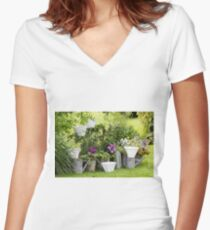 furnished garden Women's Fitted V-Neck T-Shirt