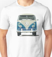 volkswagen blue hippie van cool hippie rock n roll psychecelic rock jimi hendrix flower kids peace and love t shirts Unisex T-Shirt