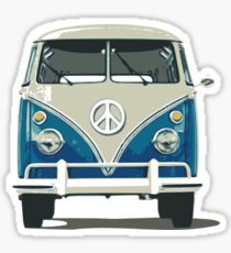 volkswagen blue hippie van cool hippie rock n roll psychecelic rock jimi hendrix flower kids peace and love t shirts Sticker