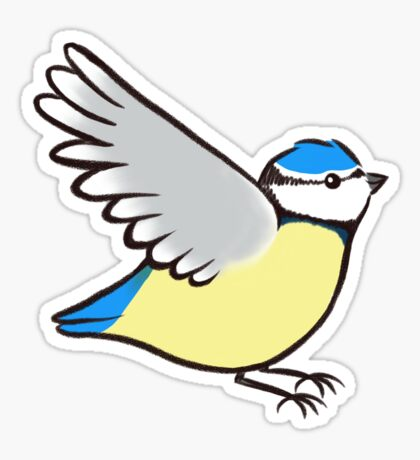 Blue Tit Flying Repeat Sticker