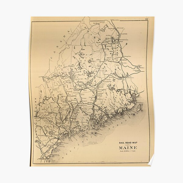 Maine Map Posters Redbubble