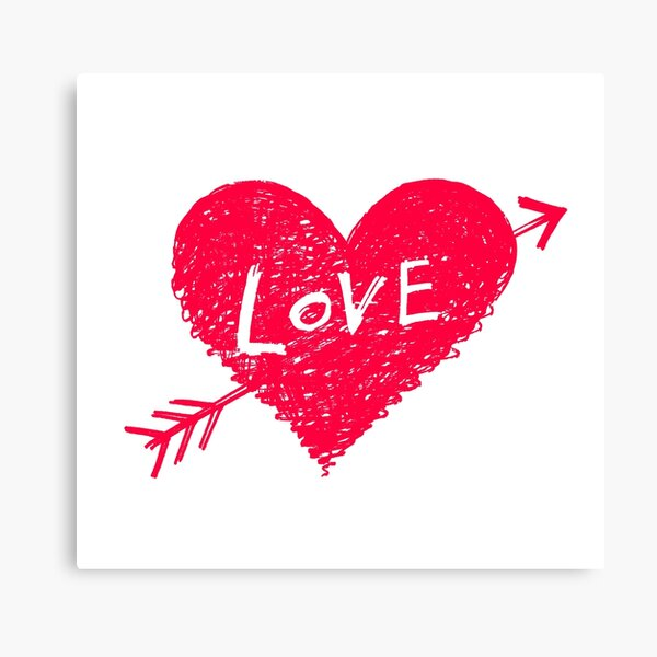 Bright red heart, symbol of love  Canvas Print