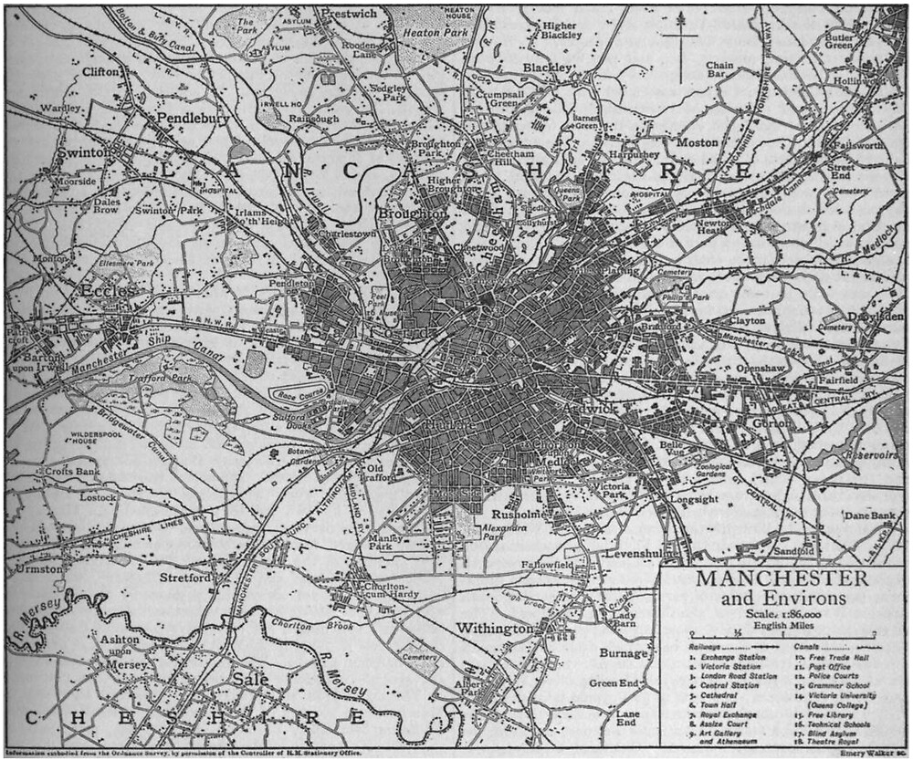 «Mapa vintage de Manchester Inglaterra (1911)» de BravuraMedia