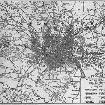 Mapa vintage de Manchester Inglaterra (1911) de BravuraMedia