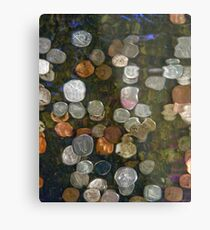 SURREAL MONEY AND COINS UNDER WATER ABSTRACT  Metal Print