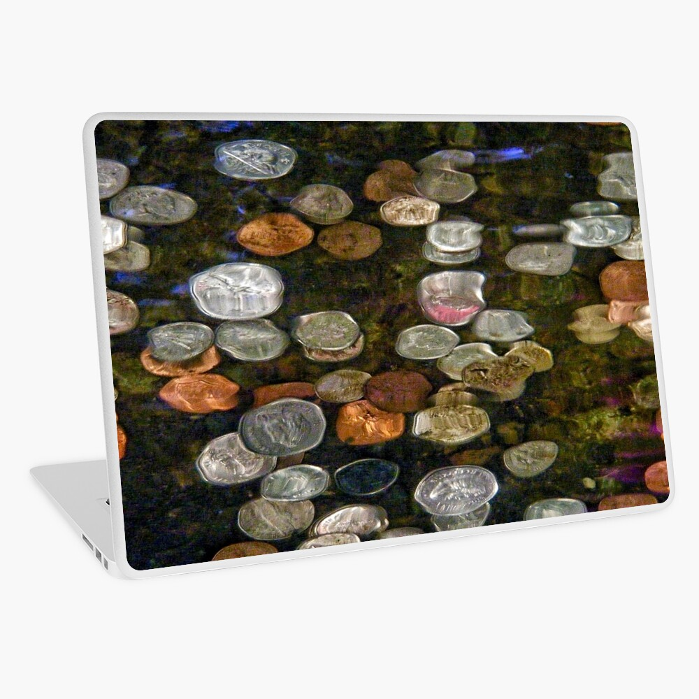 SURREAL MONEY AND COINS UNDER WATER ABSTRACT  Laptop Skin