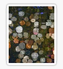 SURREAL MONEY AND COINS UNDER WATER ABSTRACT  Sticker