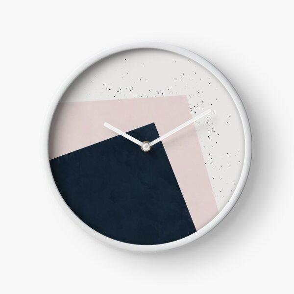 Dark Indigo Blue and Blush Pink Minimalist Geometric Colour Block Clock