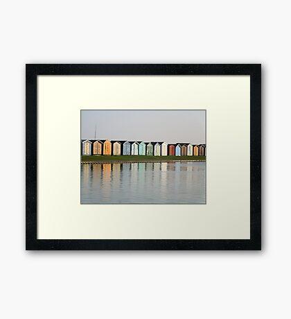 Beach Hut Reflections, Brightlingsea Framed Print