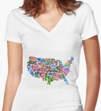 States of United States Typographic Map Women's Fitted V-Neck T-Shirt