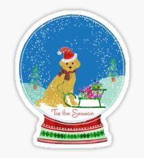 Cute Yellow Lab Christmas Snow Globe Sticker