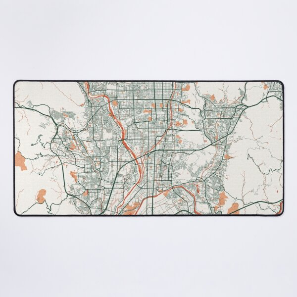 Kyoto City Map of Honshu, Japan - Bohemian Desk Mat