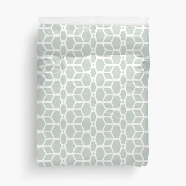 Mint Green and White Tessellation Line Pattern 4 Color Coordinates w/Behr 2022 Color of the Year Breezeway MQ3-21 - Colour - Hue Duvet Cover