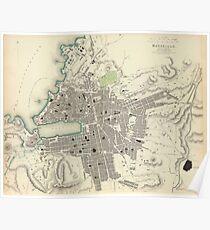 Vintage Map of Marseille France (1840) Poster
