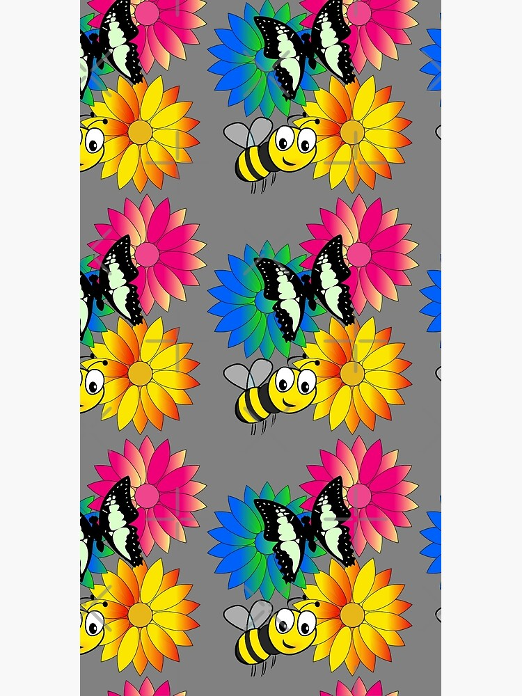 Cute bee and buterfly likes flowers by TOPASfashion
