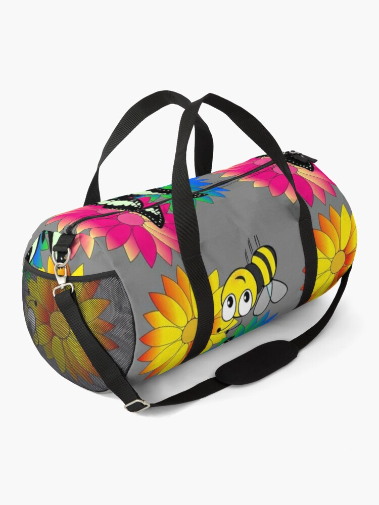 Alternate view of Cute bee and buterfly likes flowers Duffle Bag