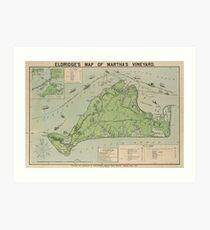 Vintage Map of Marthas Vineyard (1913) Art Print
