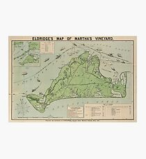 Vintage Map of Marthas Vineyard (1913) Photographic Print