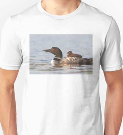 Common loon swimming with chick on her back T-Shirt