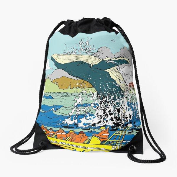 Jumping Whale Drawstring Bag