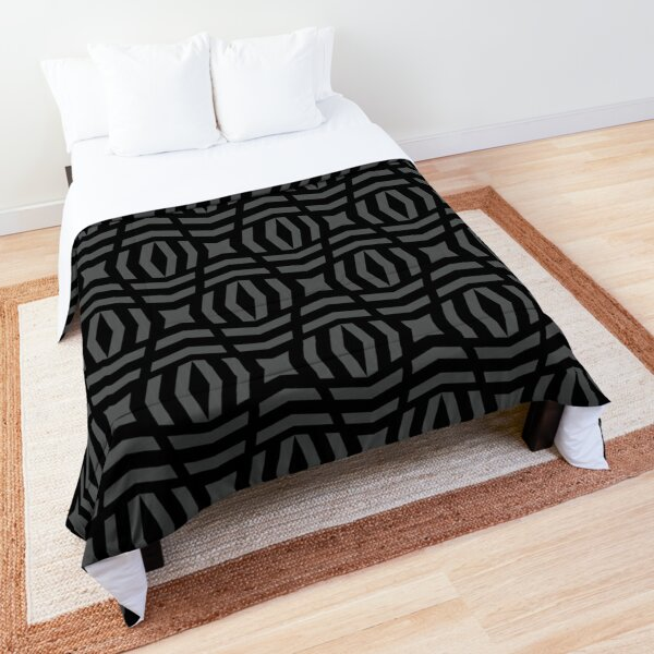 Medium Gray and Black Tessellation Line Pattern 26 - Shade Pairs To 2022 Trending Color Behr Cracked Pepper PPU18-01 Comforter