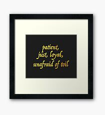 Just and Loyal Framed Print