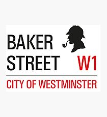 Sherlock Holmes Baker Street W1 sign Photographic Print