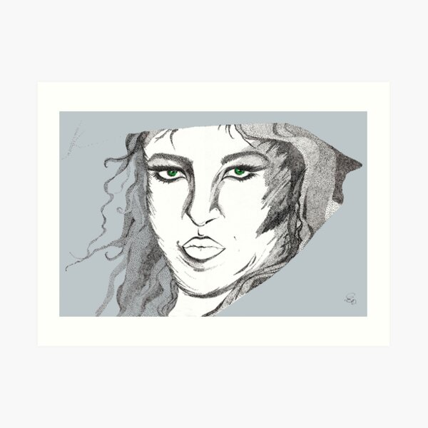 Dame mit Schal - Lady with Scarf Kunstdruck