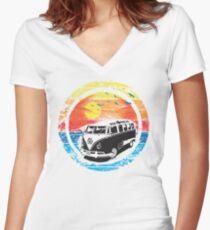 VW / Volkswagen Kombi Sunset Design Women's Fitted V-Neck T-Shirt