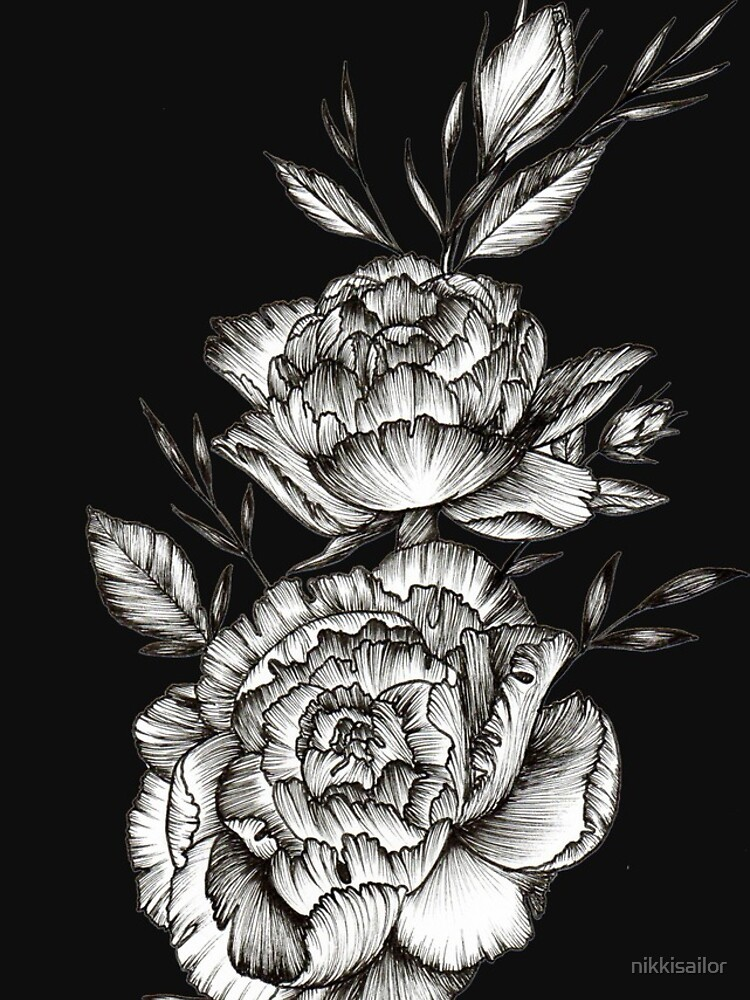 Blackwork Peony by nikkisailor