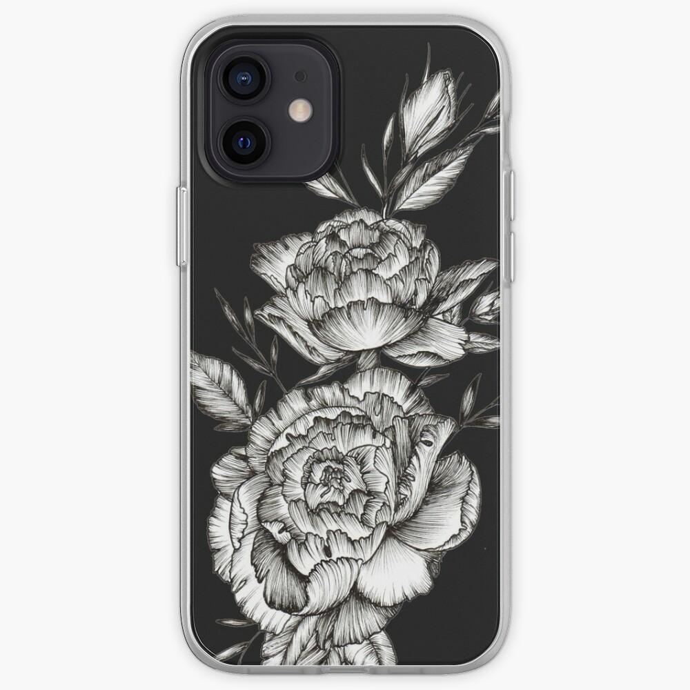 Blackwork Peony iPhone Case & Cover